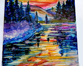 abstract mountain painting, alcohol ink landscape painting, alcohol ink art on tile, alcohol ink ceramic tile, coaster alcohol, ink painting