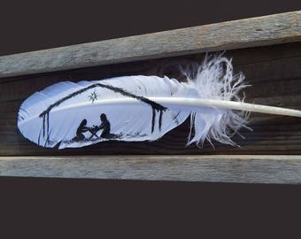 Painted feather, nativity, Barn wood frame, nativity set, nativity scene, christmas nativity, wood nativity, nativity art, nativity box,