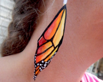 Monarch wing earrings, hand painted feather earrings, amber, wedding, fairy, chrysalis, elf, fantasy, amaranth,apricot, orange, yellow