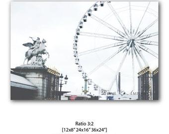 Paris decor, Large wall art, Paris photography, Ferris Wheel, whashed collors photo print, Paris canvas, Place de la Concorde, Paris icon