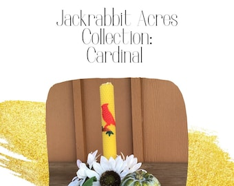 Cardinal Rolled Beeswax Candle