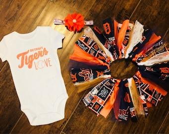 Detroit Tigers Outfit, Detroit Tigers Tutu, Detroit Tigers Onesie, Detroit Tigers Headband