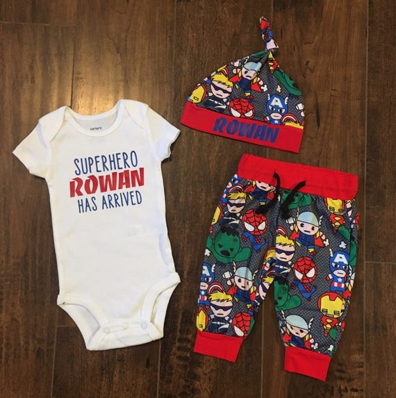 5d7b4218d Custom Name Baby Boy Coming Home Outfitsuperhero