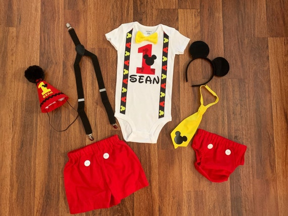 Stupendous Mickey Mouse First Birthday Outfit Boy Suspenders 1St Etsy Funny Birthday Cards Online Aboleapandamsfinfo