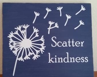 Scatter kindness, inspiration, be kind to others, dandelion fluff, kids room decor, home decor
