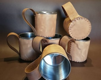 Leather mug with stainless steel insert (with handle)