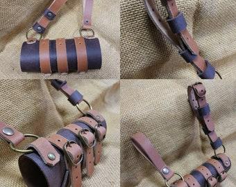 Larp sword holster 3 straps light brown