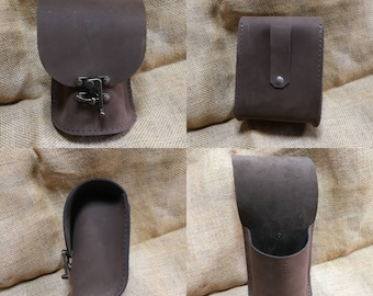 Leather belt fanny pouche chocolate leather
