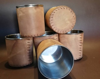 Leather mug with stainless steel insert (without handle)