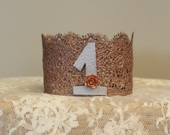 Rose gold crown-lace