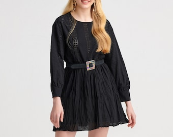 Black Embroidered Mini Dress in Boho Style for Women