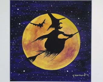 Yellow Moon Witch Mounted Print