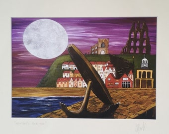 Whitby's Anchor Mounted Print