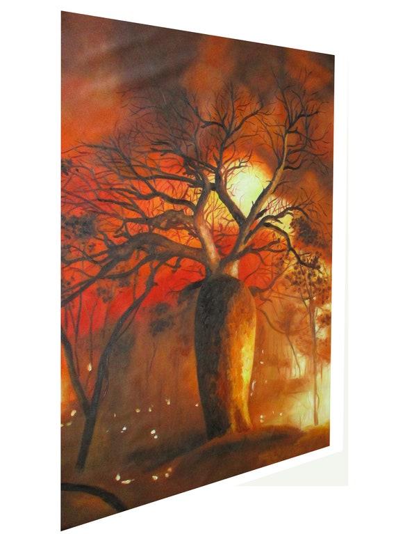 """Print  bush tree beige australia painting canvas landscape art 90cm 36/"""""""