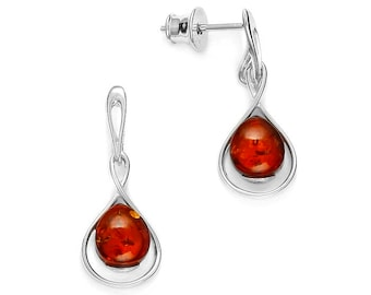 Baltic amber earrings on rhodium-plated silver.