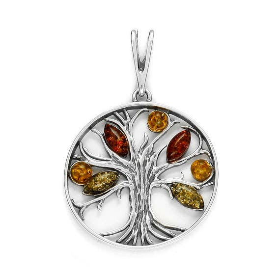 amber necklace on silver 925 Yggdrasil necklace amber,gift, Tree of life