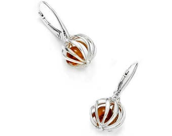 Baltic amber earrings on silver 925/1000