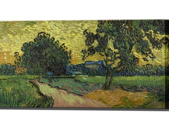 Landscape at Twilight by Vincent Van Gogh Canvas Print Wall Decor Home Decor Interior Design Ready to Hang