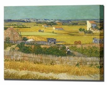 Harvest by Vincent van Gogh Wall Decor At La Crau Canvas Print Home decor Interior Design Ready to Hang