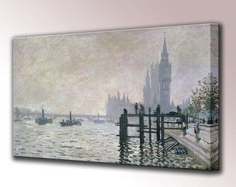 The Thames Below Westminster by Claude Monet Home Decor Canvas Print Art Interior Design Ready To Hang