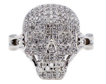 14K White Gold Pave Diamond Skull Cocktail Statement Ring Size 5