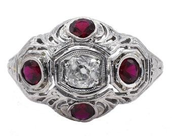 Antique 18 Karat Old Mine Cut Diamond & Ruby Filigree Cocktail Ring Size 5.5