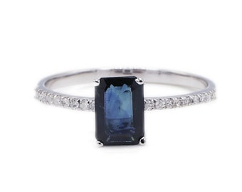 14K White Gold Pave Diamond & Blue Sapphire Thin Band Cocktail Ring Size 7.25