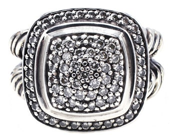 Sterling Silver & Diamond Albion Style Halo Halo Split Shank Cocktail Ring Size 6