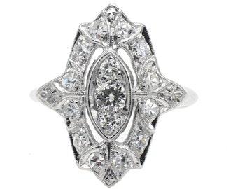 Art Deco Diamond Platinum Antique Navette Ring Size 4