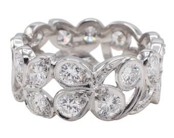 Platinum 3.20 Carat Diamond Floral Eternity Band Ring