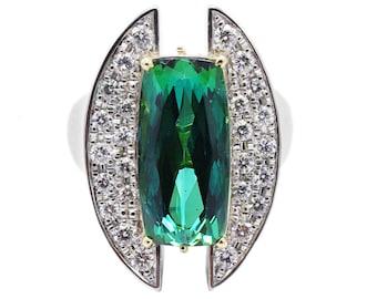 Platinum 7.12 Carat Tourmaline & Diamond Cocktail Ring Size 8