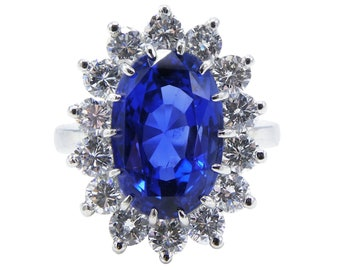 AGL Certified Ceylon Blue No Heat Sapphire 7.31cts Platinum Diamond Ring Size 4.75