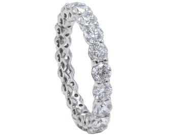 Ritani 2.10 Carat Platinum Diamond Eternity Wedding Band Ring Size 4.25