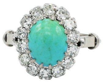 18 Karat White Gold .70 CTW Diamond & Turquoise Halo Cocktail Ring Size 4.5