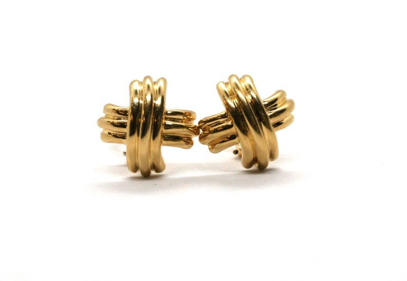 6f7ed5ba753dc Vintage Tiffany & Co. 18K Yellow Gold Signature X Medium Clip On Earrings