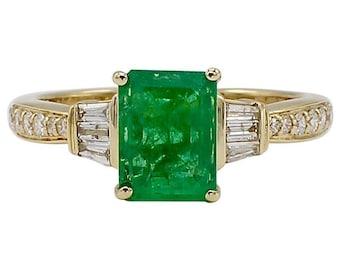 EFFY 14K Yellow Gold Emerald & Diamond Cocktail Ring Size 7