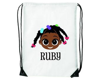 Cotton Drawstring Backpack Gym Bag Shoe Sack Pump Swim School Free P/&P