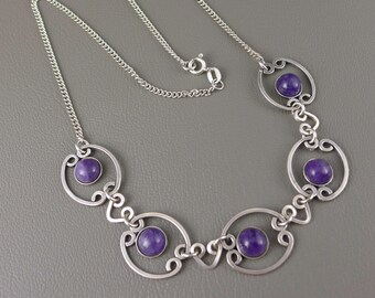Sterling Silver Amethyst Necklace, Vintage Sterling Silver Amethyst Choker Necklace