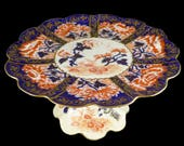 Foley Wileman Pedestal Cake Plate, Antique Foley Wileman Imari Pedestal Cake Stand 6664, Foley Pre Shelley Red And Blue Cake Plate