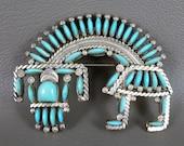 Zuni Sterling Silver Needlepoint Brooch, Vintage Hugh Bowekaty Rainbowman Sleeping Beauty Turquoise Pin Pendant