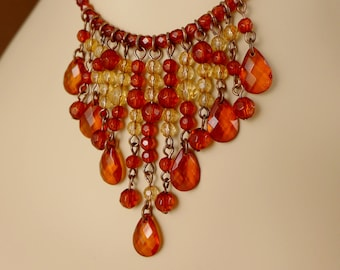 Mini Bib Necklace, Vintage 1928 Amber And Golden Beaded Fringe Necklace, Beaded Necklace