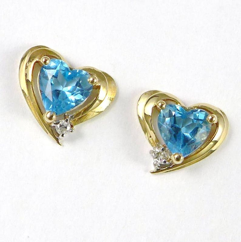0800cbb6d Gold Blue Topaz Earrings Vintage 10K Gold Heart Shaped Blue | Etsy