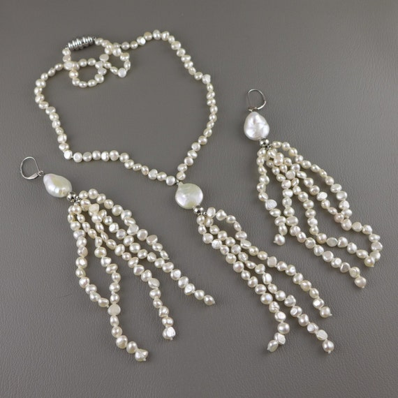 Freshwater Pearl Necklace Earring Set Vintage Hand Knotted Etsy