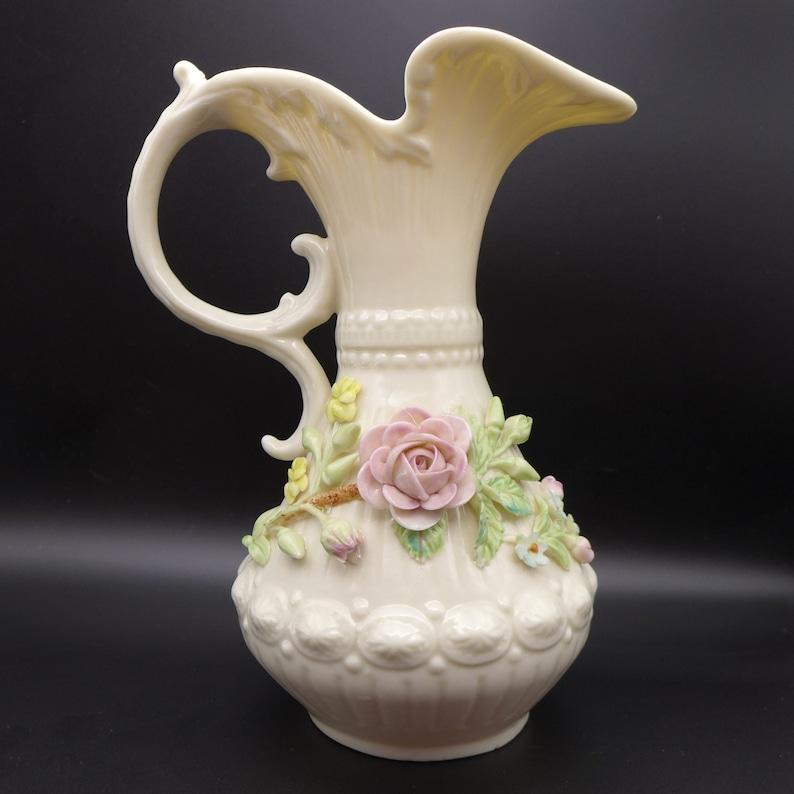Vintage Medium Belleek Aberdeen Pitcher With Applied Flowers and Left Handle Irish Porcelain 3rd Green Mark