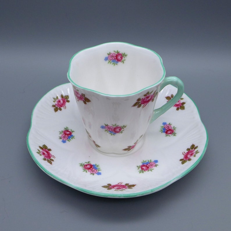 Shelley Demitasse Cup And Saucer Set Vintage Rosebud Pattern In The Dainty Shape