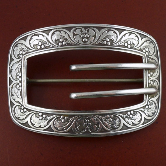 Antq Victorian 925 Sterling Silver Belt Buckle Large Pin Brooch