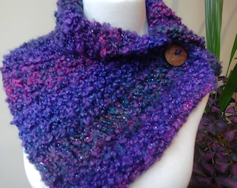 Button Wrap Cowl in Purple and Plum Tones