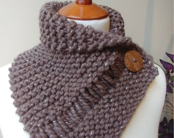 Shorter Button Wrap Cowl in Taupe with Silver Highlights