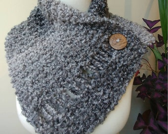 Button Wrap Cowl in Gray Tones with Silver Highlights