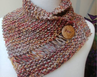 Shorter Button Wrap Cowl in Brown, Red, Orange and Beige